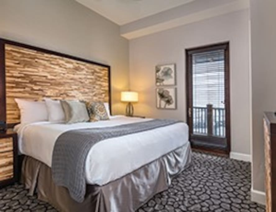 The Master Bedroom is a King bed with a bathroom adjacent.
