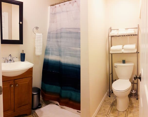 3/4 private bath in the suite (i.e., shower only). If you're in need of a bathtub, you're welcome to use a shared bathroom on the main floor.