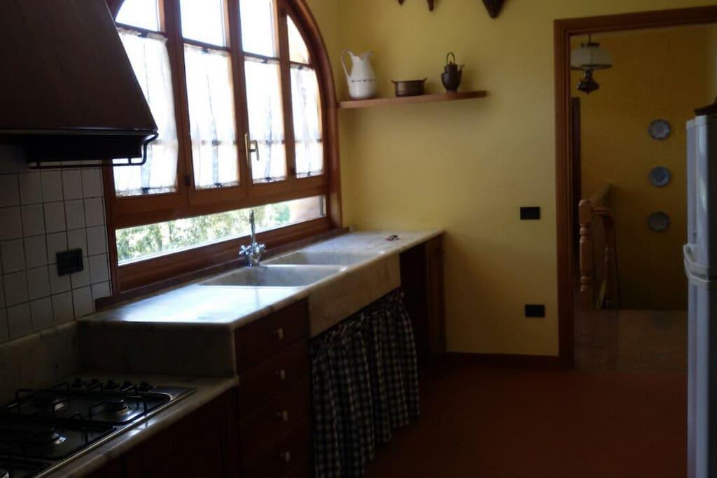 Big kitchen with marble sink