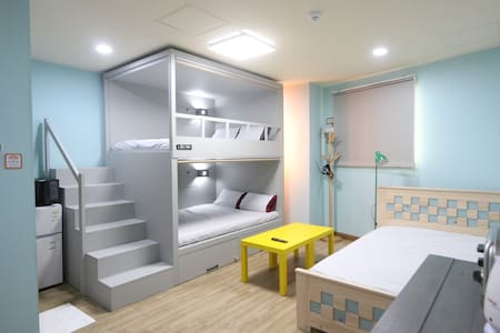 one double bunkbed and one hinoki cypress double bed with all latex mattress