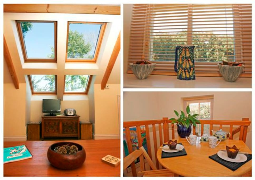Four big Velux windows and open beamed ceiling make this an airy and light space.