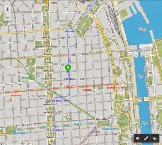 Walking distance to most attractions in BA: Teatro Colón, Calle Florida, Obelisco, Av. Corrientes, Calle Lavalle, etc. As well as the nice neighborhoods: Puerto Madero, Recoleta, San Telmo, etc.