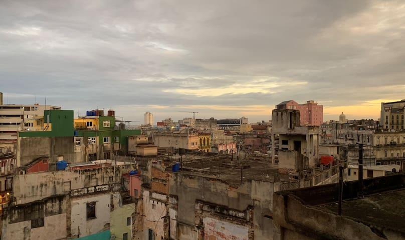 The kitchen's view. You can watch a good chunk of Havana.  La vista de la cocina. Puede mirar una parte grande La Habana.