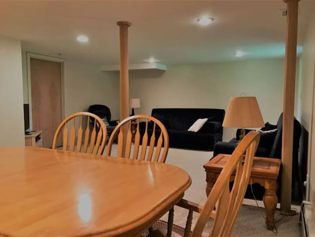 Walk-out basement with 2 futon beds