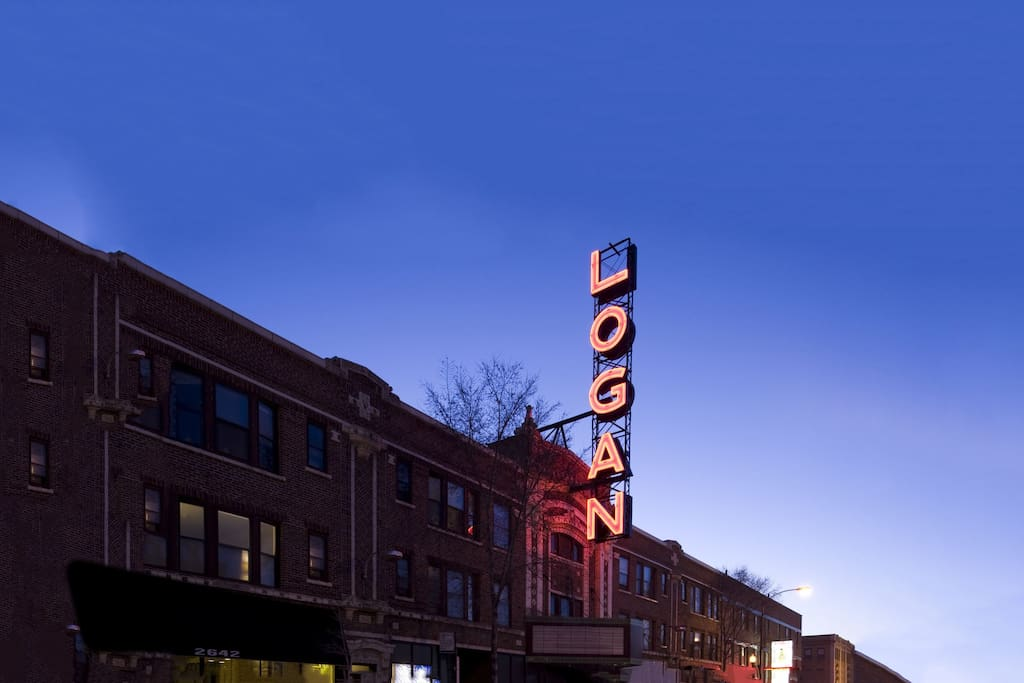 Logan Theatre at night