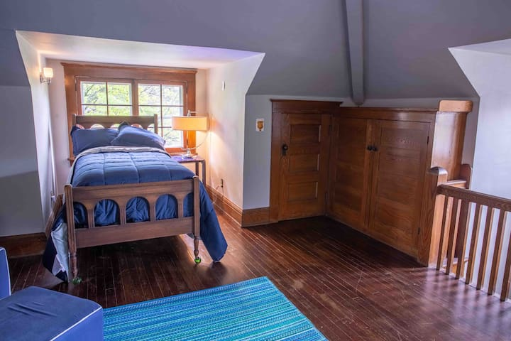 Third floor bunk room includes 3 twin beds, ultrasoft microfiber sheets and a down alternative comforter. Room includes a dresser and linen cabinet, side chair and beanbag chair, pack-and-play, old-style stereo, tv with remote and digital antenna.