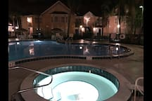 Tha jacuzzi and pool at night