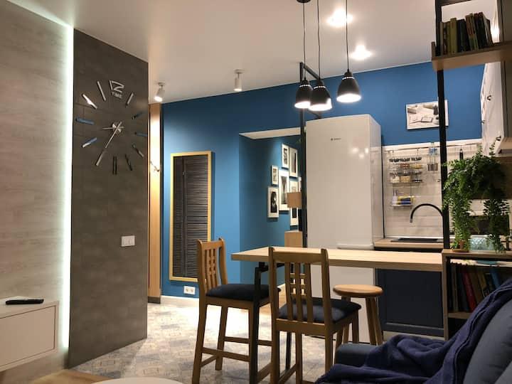 Новая Удобная квартира Скандинавско-Морской Дизайн