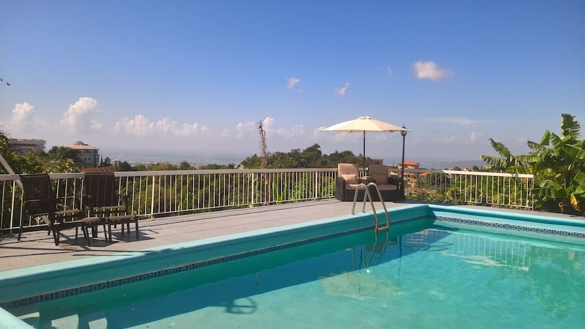 Modern characterful apt with views and a pool