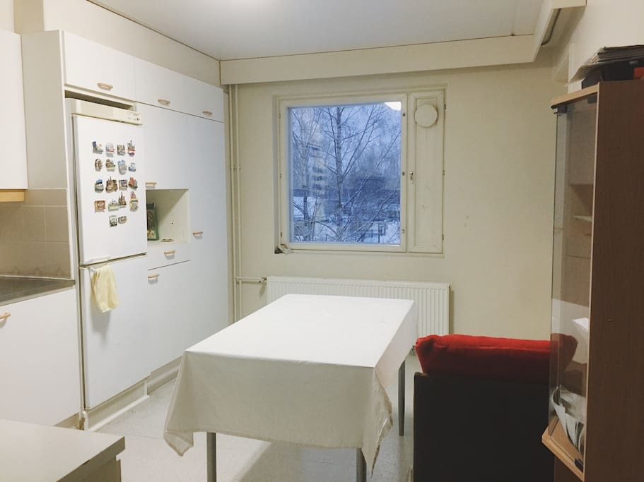 Clean kitchen with a dining table