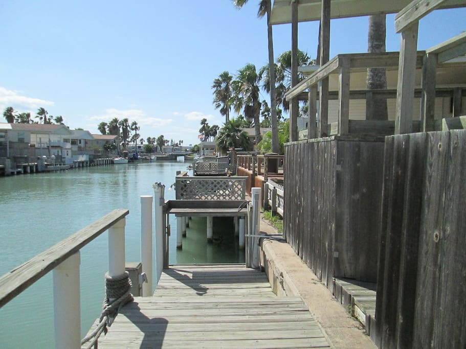 Boat dock also has fish cleaning station!