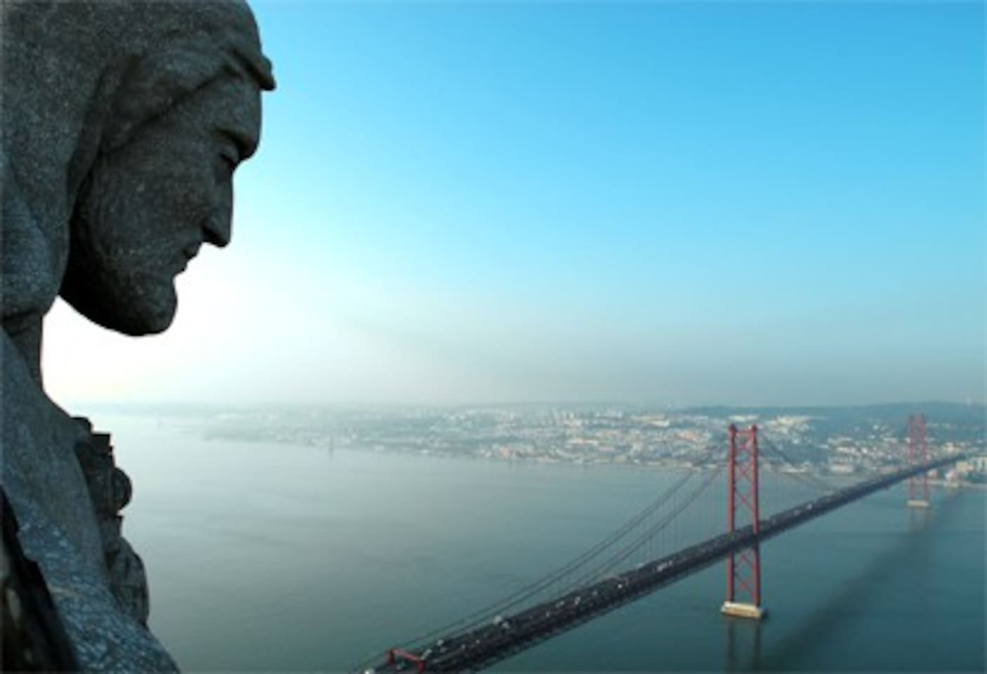 Jesus looks down to Lisbon and Lisbon bridge, 10 min from apt. by car