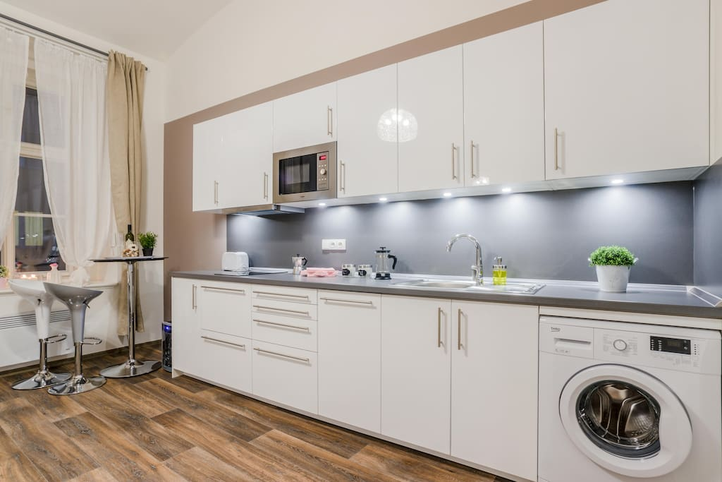 Our fully equipped kitchen offers you everything you need to prepare good food. You will find here also washing machine and dishwasher.
