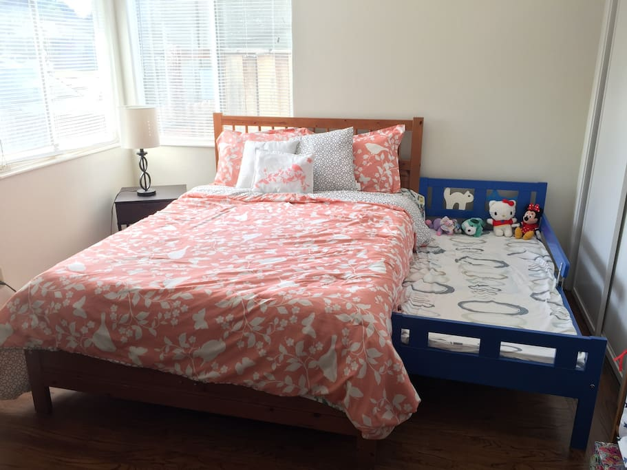 2nd bedroom with full bed + toddler bed (if you don't need toddler bed it can be moved)
