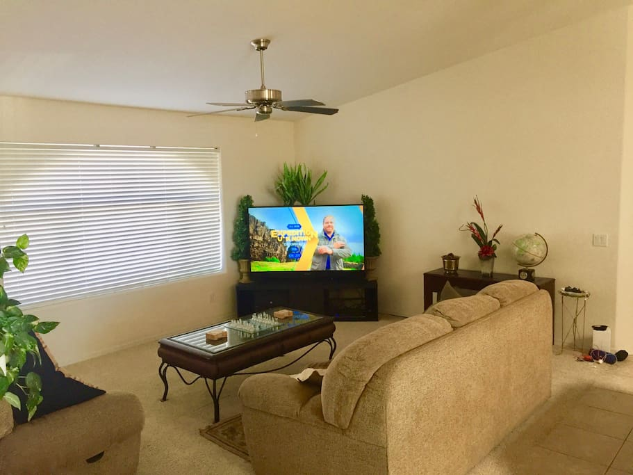 Living room with large screen TV and sofa bed couch