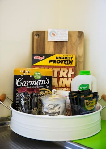 Breakfast supplies for you to help yourself during your stay.  In addition to this on the bench you will find fridge, freezer and cupboard treasure.