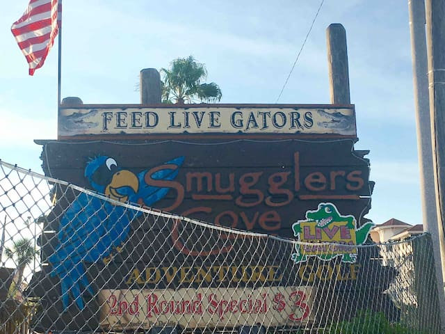Putt Putt Golf anyone?  Walk over to Smugglers Cove. This is putt putt on steroids.  Lots of great obstacles and you can feed the LIVE GATORS there!  Wow, who doesn't want to do that?