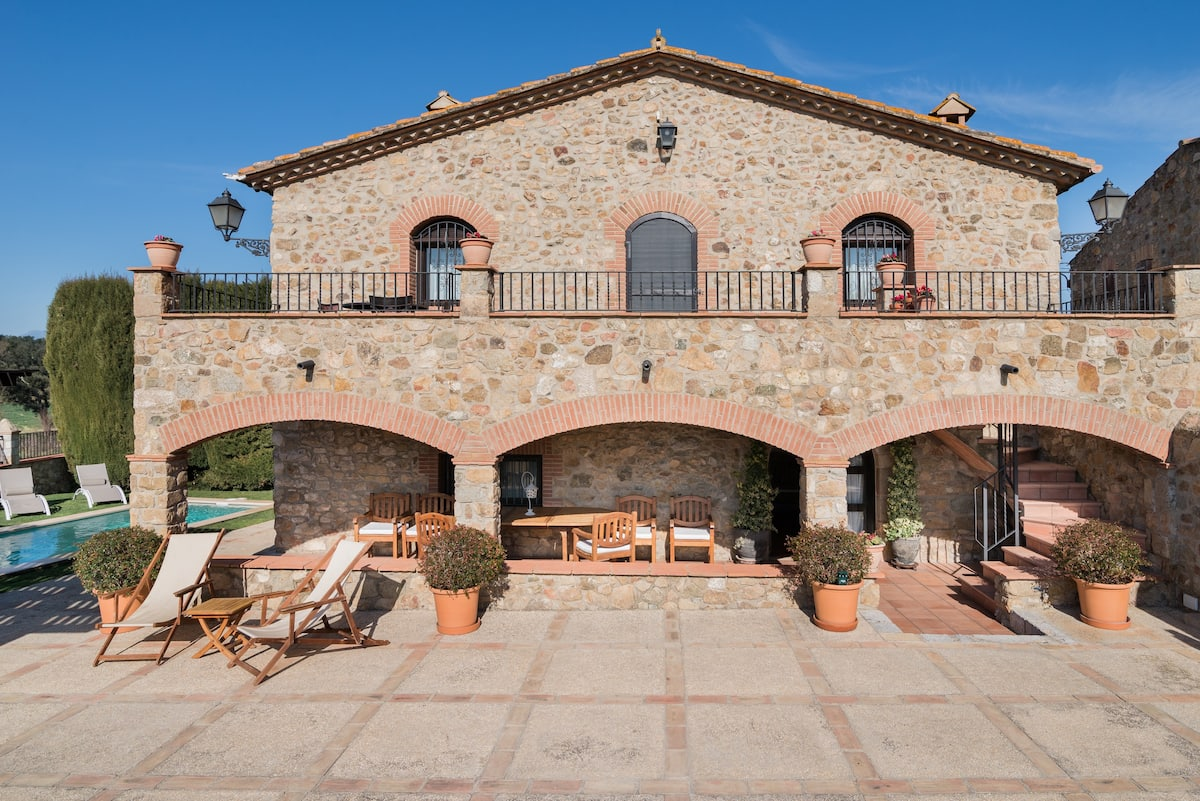 Cal Bisbe, Stone-Built Home with a Leafy Poolside Terrace