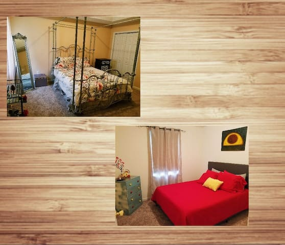 Room R -Master Queen Bedroom with a full bath  Room A -Artistic Room,  Queen Bed