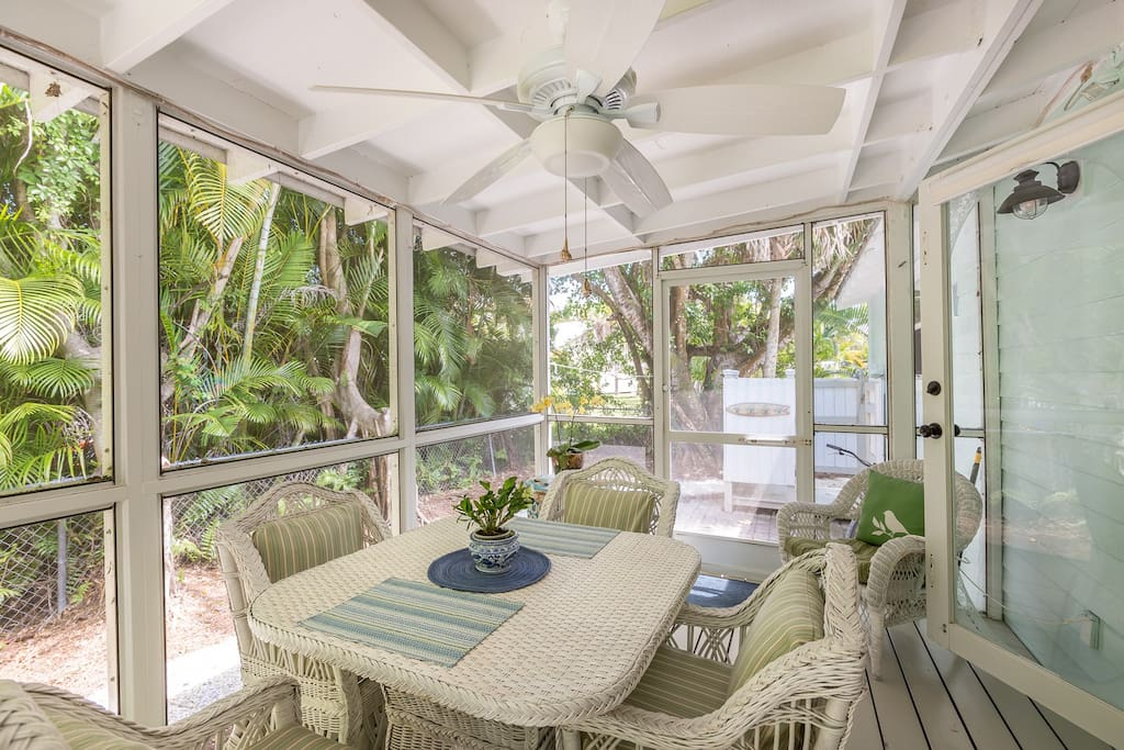 Enjoy a meal cooked on the outdoor grill while dining on the sun porch
