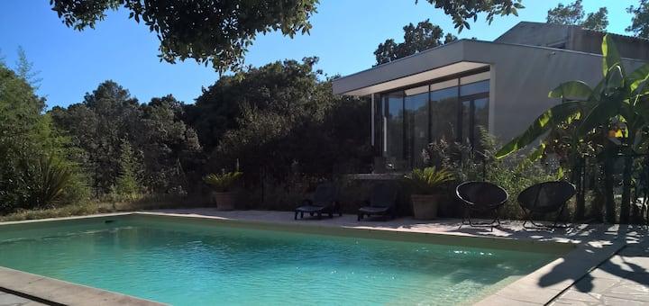 Villa contemporaine dans jardin méditerranéen