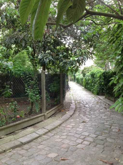 L'allée et les jardins où j'habite. The path and the gardens where the flat is (unfortunatly the gardens are not ours)