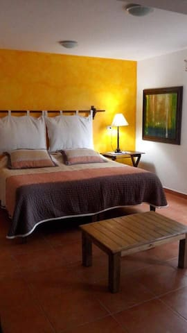 """""""Flor del Café""""   Larger room with a King size bed and a futon"""