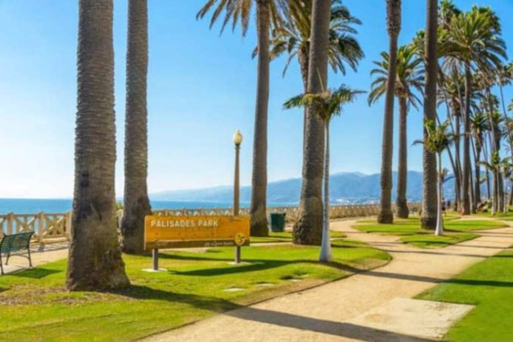 Across the street from Palisades Park with Palm trees and rose gardens