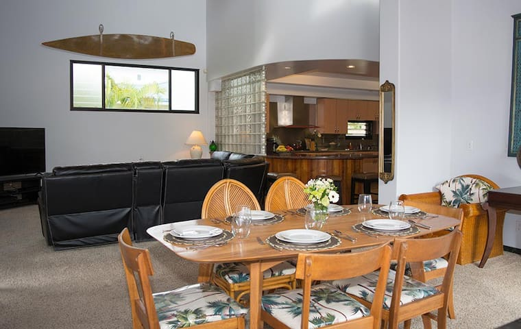 Dining room looking towards sitting area and kitchen