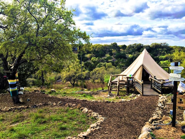 The Texas Bell Tent Glamping - Spring Branch - Telt