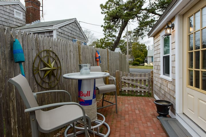 Private sitting area with gas grill