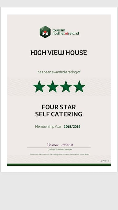 High View House has a Northern Ireland Tourist Board four star grading.