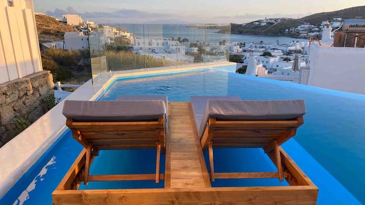 Infinity Private Pool 500m from Beach & MykonoTown