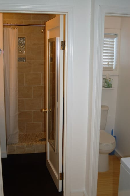 Very nice shower in bathroom with separate water closet with toilet.