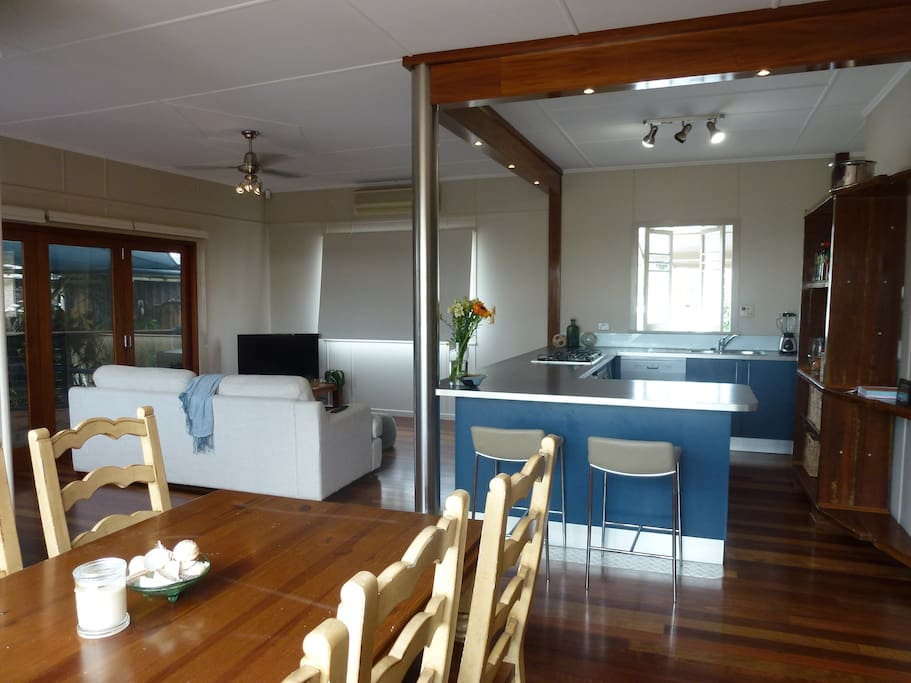 Open plan kitchen, living & dining