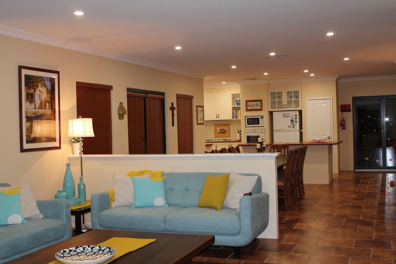 Lounge, dining & Kitchen.