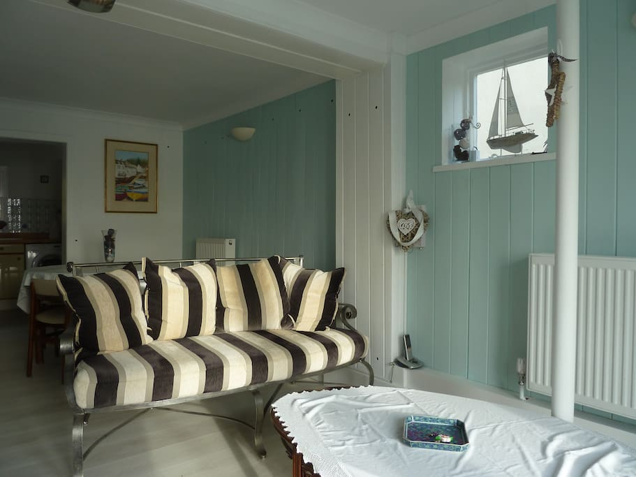 Sitting Room with French doors to shared terrace