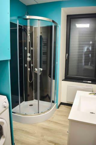 Salle d'eau avec douche, lavabo et machine à laver