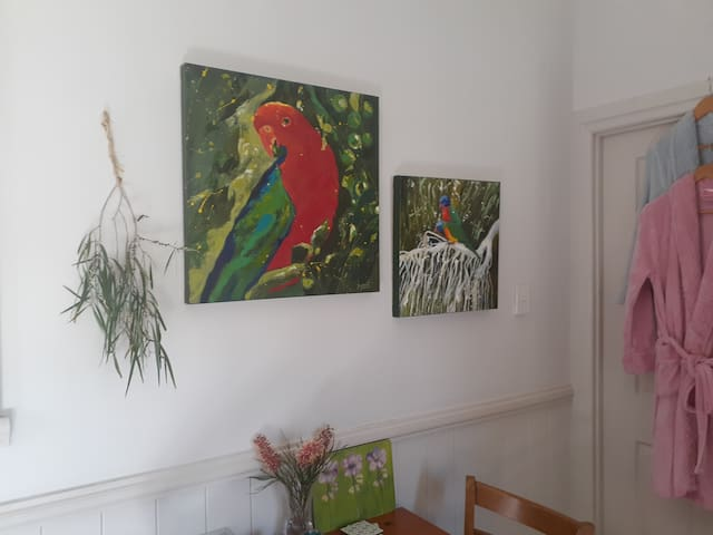 Local artist and direct neighbor Marie loans original paintings from her sales gallery for the studio. Paintings are of immediate surrounds and places of interest for visitors to the area. These two paintings are from images in my back yard.