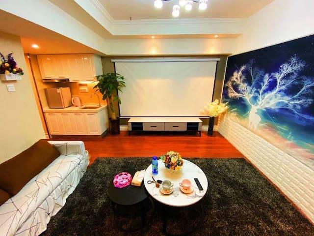 经开万达现代简约投影套房,150寸影幕大床房