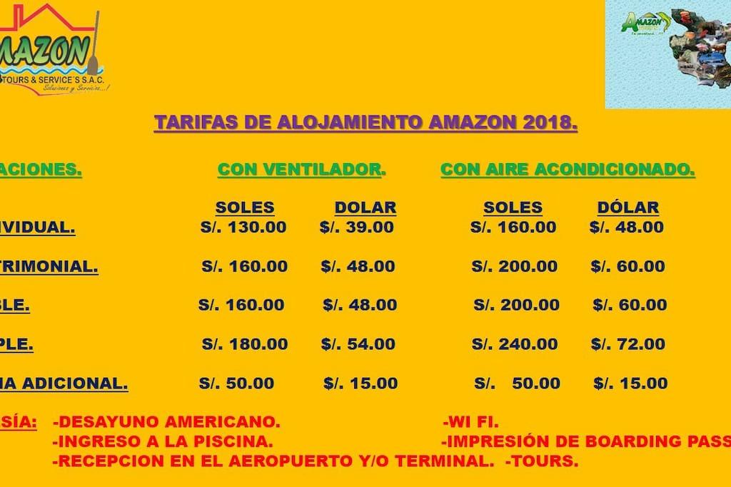 TARIFAS AMAZON POR HOSPEDAJE.