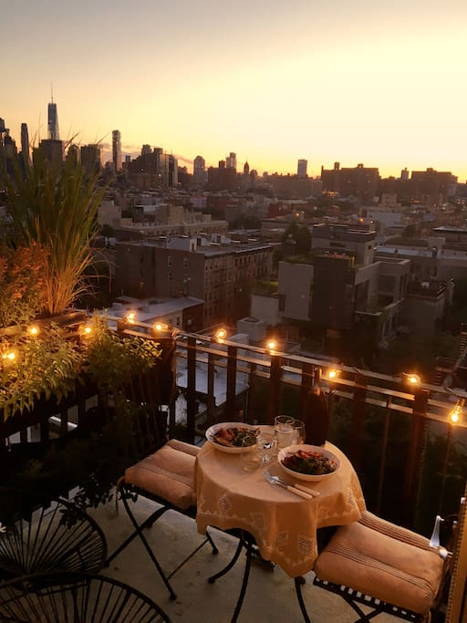 Summer Dinners on the balcony overlooking the skyline