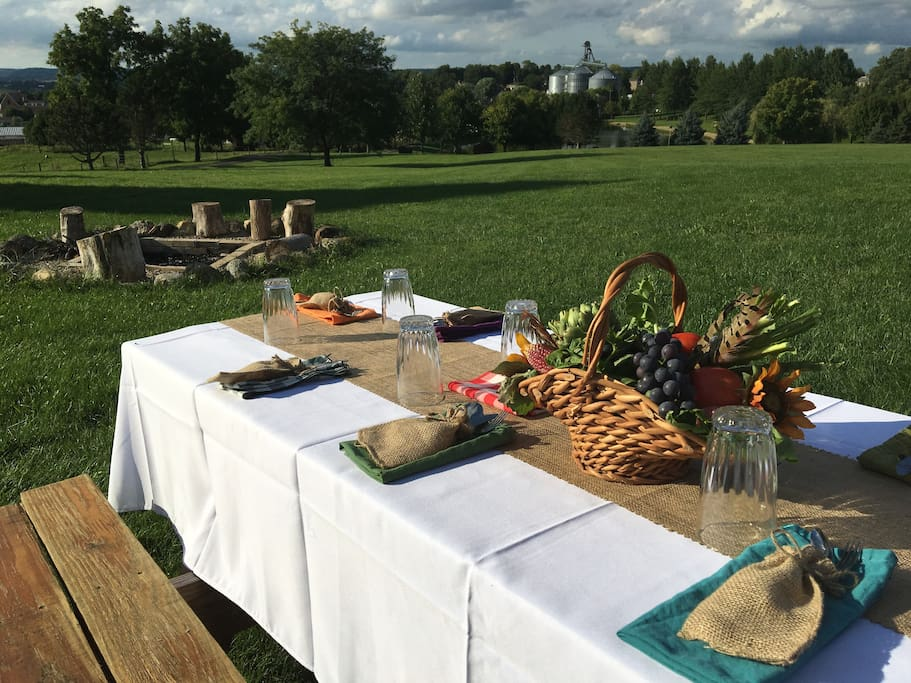 Table set for a Farm To Table dinner!