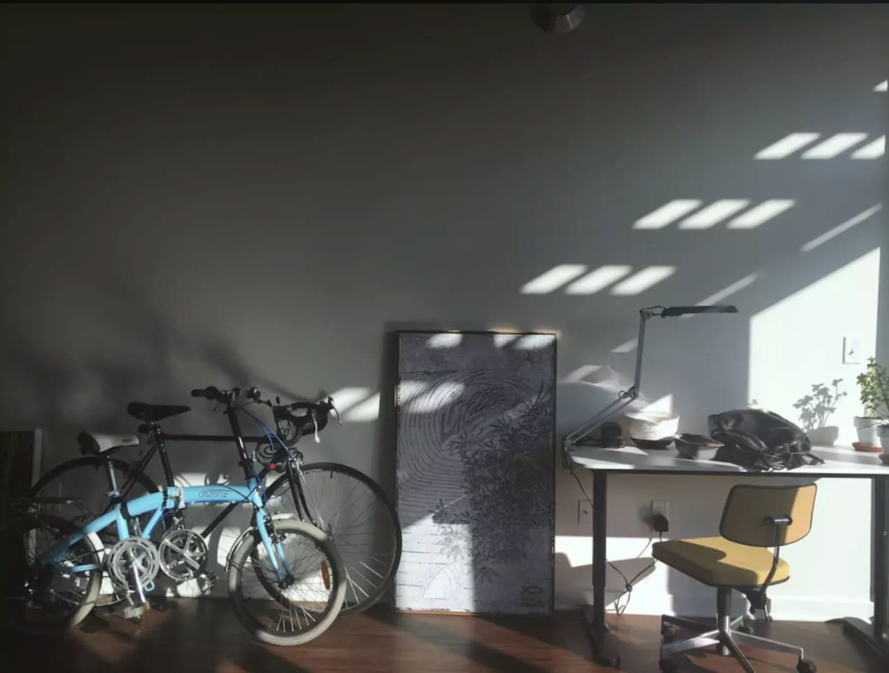 Shared space, my painting and 2 guest bikes laying in the living room.