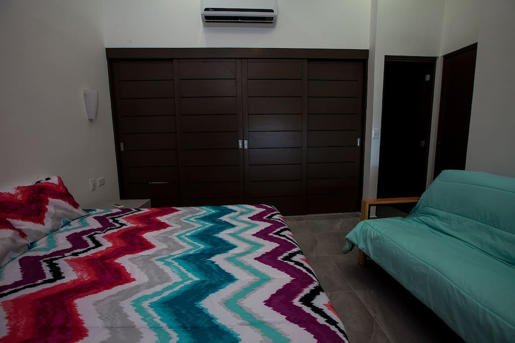 Queen bed with double futon/sofa