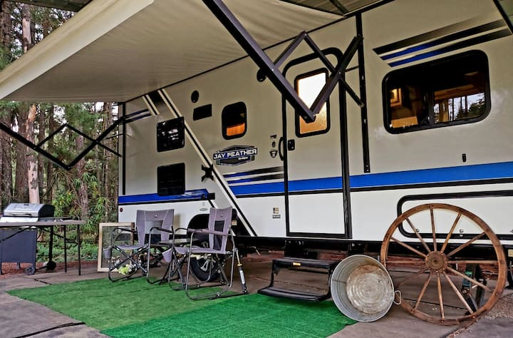 Quaint Travel Trailer with Bunks in a Green Oasis