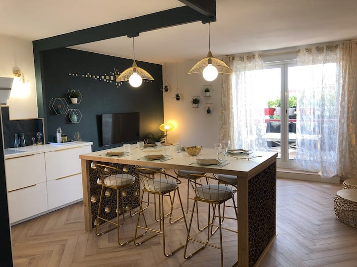 Apt rénové et spacieux à 10 mn plages/Montpellier
