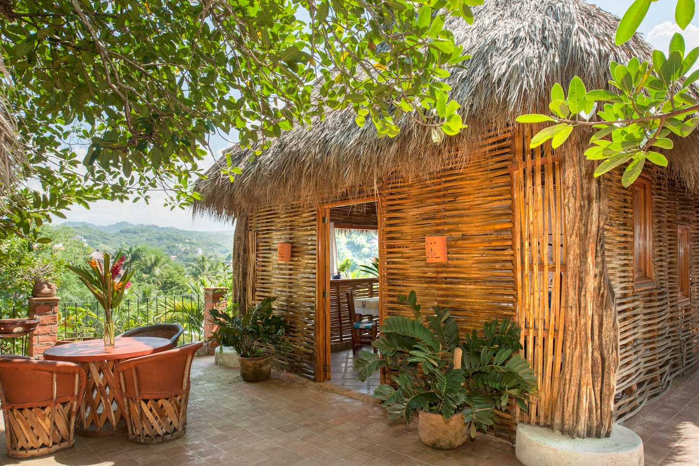 Entrance to the palapa, with beautiful views of the surrounding valley and jungle.