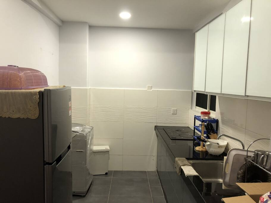 Kitchen with electric cooker, refrigerator, washing machine, rice cooker, micro-wave, kettle and others cooking and eating equipments