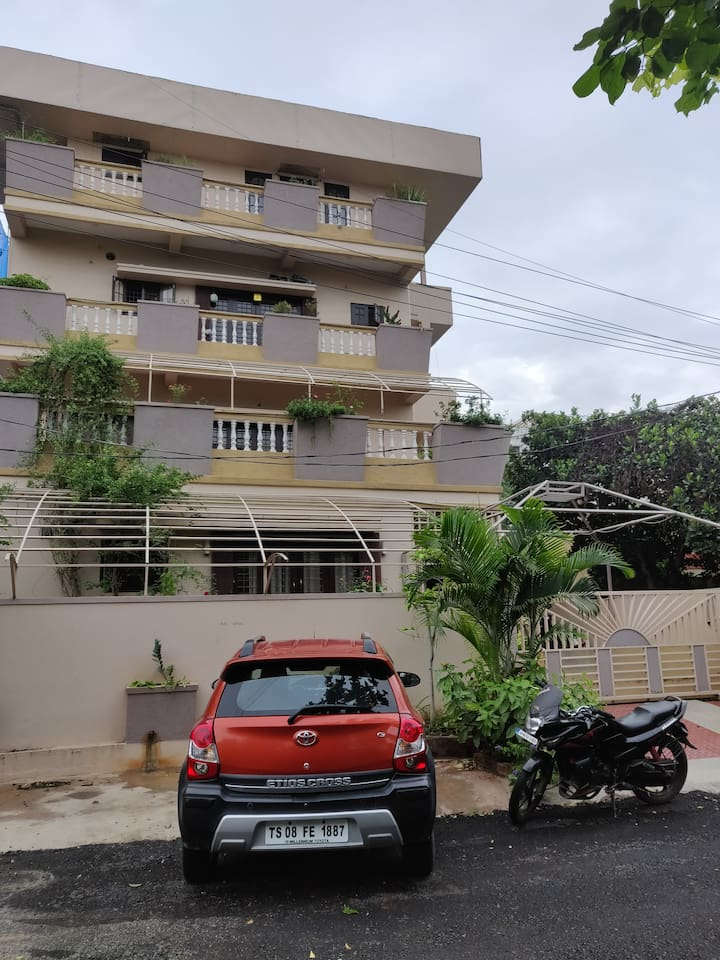 One floor of this building with 2 bed rooms, attached bathrooms home theatre hall, open balcony